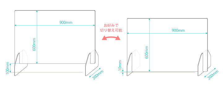 飛沫感染防止セーフティボード L寸法